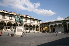 One of Florence's most beautiful squares is flanked by several arcaded…