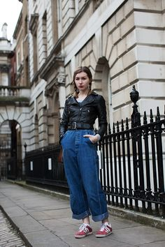 On the Street……Connie B., London. Overalls are having a moment in London!