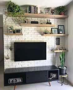 Minimalist home Best Farmhouse Living Room TV Wanddekoration Ideen Living Room Tv Unit, Home Living Room, Living Room Designs, Living Room Decor Tv, Living Room Brick Wall, Home Interior, Living Room Interior, Interior Design, Tv Wall Decor