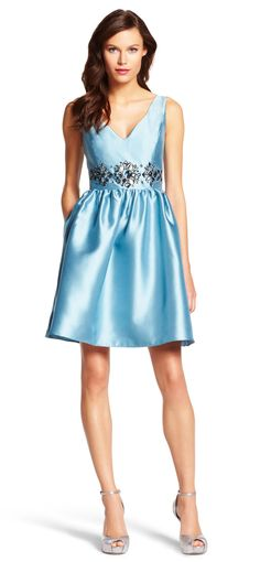 Mikado Embellished Party Dress - Adrianna Papell