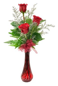 3 roses in a vase accented with greenery and an accent flowe.- 3 roses in a vase accented with greenery and an accent flower Approximately 3 roses in a vase accented with greenery and an accent flower Approximately 10 W x 16 H. Rose Vase, Flower Vases, Orchid Flowers, Valentine's Day Flower Arrangements, Valentines Flowers, Valentine Nails, Valentine Ideas, Floral Bouquets, Flower Decorations