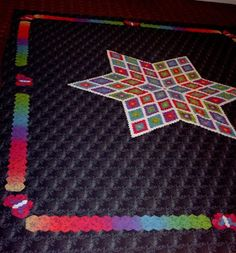 "Patti is making this wonderful hexagon star quilt using the Inklingo .50"" 60-degree hexagons and the elongated 60-degree hexagon from Inklingo Collection 1, a collection on CD which is sold out"