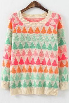 Apricot Long Sleeve Geometric Print Loose Sweater 18.33