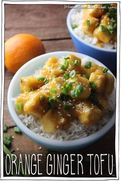 Sweet, sticky, ginger and orangey, kid-friendly. A healthier alternative to Chinese Orange Chicken. Vegan and gluten free recipe. Vegan Dinner Recipes, Vegan Dinners, Appetizer Recipes, Breakfast Recipes, Vegetarian Recipes, Healthy Recipes, Italian Appetizers, Vegetarian Protein, Delicious Recipes