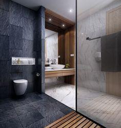 House/ District Ho Chi Minh, Viet Nam on Behance Hotel Bathroom Design, Bathroom Layout, Modern Bathroom Design, Contemporary Bathrooms, Bathroom Renovations, Design Hotel, Bad Inspiration, Bathroom Inspiration, Bathroom Toilet Paper Holders