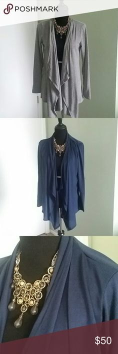 💲BUNDLE💲3 Draped cardigans 😍 This bundle has 3 cardigan sweaters. Navy, Gray, and Black. They are light material and perfect for spring! *the jewelry is also available in my closet😉* Rags and Couture Sweaters Cardigans