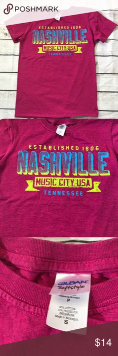 """Nashville TN Music City pink T-shirt  size Small Nashville Music City T-shirt. Size Small. Cotton Poly Blend. Pit to pit 17"""". Length is 24"""". Please note that this is a used item. Normal fade from wash and wear.   #M Tops Tees - Short Sleeve"""