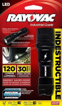Rayovac Industrial Grade LED Indestructible Flashlight with Batteries & Lifetime Warranty