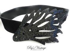 Unique Vintage Black Vinyl Belt With by PegsVintageJewellery, $15.00