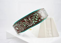 "Western Tooled Mint/Cognac Artisan Leather Dog Collar - 1.5"" Wide Martingale - Turquoise Leather Lining - SIZE 20""-22"""