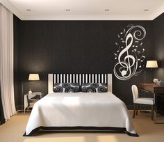 Bedroom Music Inspired- love the wall decor. Maybe do wall in purple instead of black. Keep white ceiling