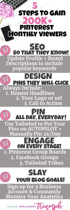 5 Steps to Gaining 200,000 pinterest monthly viewers!! #marketing #socialmedia