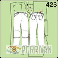 Выкройка мужских брюк с защипами на коленках сделана для размера 54. Модель построена специально для себя любимого на основе джинсов.