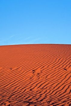 Red Dirt and Blue Sky. A minimal image of a Simpson Desert sand dune. Red soil and a blue sky combine for a quintessentially Australian Outback scene. #australia #outback #desert #sanddunes #red #blue #wallart