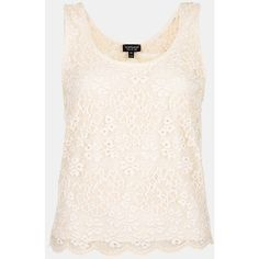 Topshop Sheer Back Floral Lace Tank ($32) ❤ liked on Polyvore