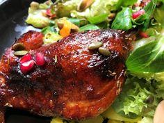 Királyi lakoma: Narancsos sült kacsacomb – Mediterrán ételek és egyéb finomságok… Steak, Bacon, Pork, Food And Drink, Chicken, Advent, Christmas, Diet, Kale Stir Fry