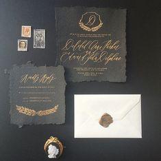 black paper + gold ink via Magnolia Rouge