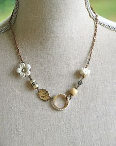 Mon Cheri.shabby chic french floral charm necklace. Tiedupmemories. $36.00, via Etsy.