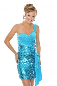 @Precious Formals H55046 Turquoise one shoulder fully sequined #Prom #Dresses #IPAProm #Prom360