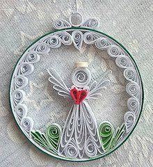 Dekorácie - Vianočná okrúhla dekorácia s anjelom - 7511679_