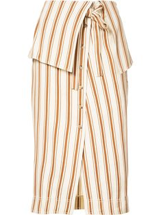 Rosie Assoulin - Folded Waist Striped Skirt - Women - Cotton/Linen/Flax - 2 - AVAILABLE HERE: http://rstyle.me/~9XoGz