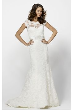 New Style Lace Sweetheart Empire Sheath Cap Sleeves Wedding Dresses
