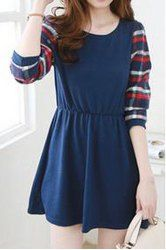 Casual Scoop Neck Long Sleeves Plaid Splicing Dress For Women