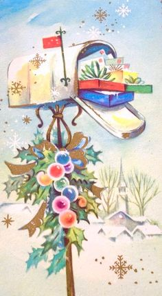 Christmas Mail Box. Christmas Mail & Gifts. Vintage Christmas Card. Retro Christmas Card. Decorated Mailbox. Vintage Snowflakes.