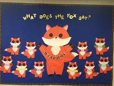 Welcome Bulletin Board 2015 Fox Theme Preschool Classroom Decor, Preschool Bulletin Boards, Classroom Themes, Infant Toddler Classroom, Preschool Playground, Birthday Bulletin Boards, Teacher Breakfast, Teaching Plan, Fox Decor
