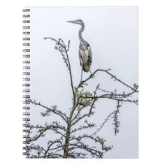 Heron on a tree notebook - animal gift ideas animals and pets diy customize