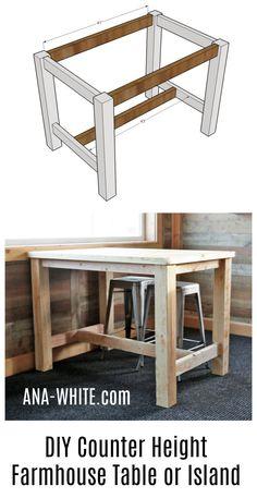 Ana White | Counter Height Farmhouse Table for Four - DIY Projects #WoodworkingIdeas #farmhousetable
