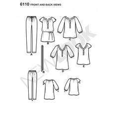 misses' pullover tunic or top with banded neckline and sleeve variations, optional tie at waist and knit leggings. new look sewing pattern. Sewing Hacks, Sewing Tutorials, Sewing Projects, New Look Patterns, Sewing Patterns, Knit Leggings, Top Pattern, Sportswear, Size 10