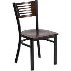 Flash Furniture 2pk Hercules Series Black Decorative Slat Back Metal Restaurant Chair, Walnut Wood Back & Seat