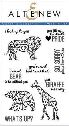 We like to stay on top of the trends, and geometric/faceted icons are definitely in! With all the cheesy puns which pair with the animal images, this set is sure to make someone smile. The outlines lo