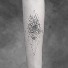 Wolf tattoo.   Fine line tattoos are little accessories to your skin and Mr. K is a king in the fine line department. Enjoy!