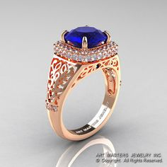 High Fashion 14K Rose Gold 3.0 Ct Blue Sapphire by DesignMasters, $1659.00