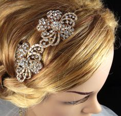 Beth - Wedding Hair Comb, Accessories, Rose Gold Hair Comb, Pink Gold, Champagne, Rhinestones, Crystal, Swarovski, Czech crystal. $25.00, via Etsy.