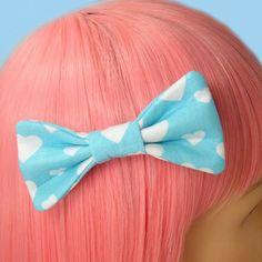 Kawaii Fairy Kei Lolita White Heart Hair Bow Clip Barrette Puffy Bow Light Aqua-ish Blue