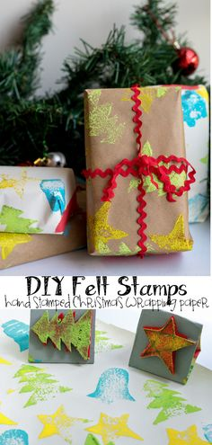 DIY Felt Stamps for Hand Stamped Christmas Wrapping Paper from Nap-Time Creations