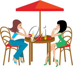 iCLIPART - Clip art illustration of two young woman in a cafe