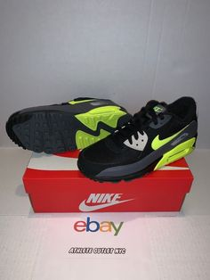 182d15b8835 New Nike Air Max 90 Dark Grey Black Volt Men s Running Sneakers AJ1285-015