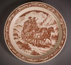 Pioneer Trails - Apple Valley Ranchos - Large Chop Plate - Wallace China restaurantware