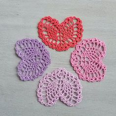 Little pink crochet heart Appliques shapes small by MyWealth