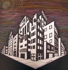 """Two Point Perspective Cityscape"" - 8th Grade. Artsonia Art Museum :: Artwork by…"