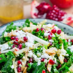 Apple and Pomegranate Quinoa and Kale Salad with Feta in a Curried Maple Dijon Dressing Recipe Salads with quinoa, water, kale, apples, pomegranate, walnuts, feta cheese, cider vinegar, olive oil, garlic, maple syrup, dijon mustard, curry powder, salt