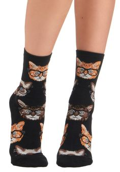 One Wise Kitty Socks - Black, Brown, Print with Animals, Casual, Quirky, Knitted