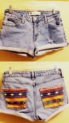 I'm so doing this to my shorts this summer: just sew a piece of patterned fabric over the back pockets!