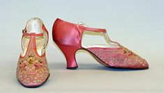 """""""VanderBiltmore Style"""": Evening shoes Manufacturer: F. Pinet, Paris (French, founded 1855) Date: 1926 Culture: French Medium: silk."""