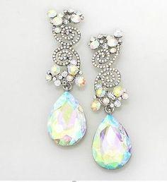3-Long-Aurora-Borealis-AB-Austrian-Crystal-Pageant-Bridal-Earrings-Clear-Silver