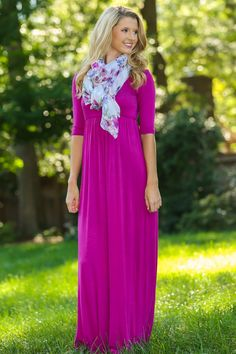 Roll Call Maxi Dress-Magenta | The Red Dress Boutique